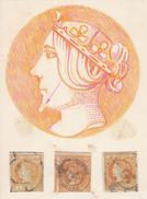 Año 1860 Edifil 52 4c Isabel II  Estudio De Defectos De Plancha Y De Impresion  3 Sellos - 1850-68 Royaume: Isabelle II