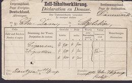 Germany Deutschland ZOLL-INHALTSERKLÄRUNG Déclaration En Douane BOUTZEN 1899 SKJELSKÓR Denmark Cigaretten / Etiquetten - Deutschland