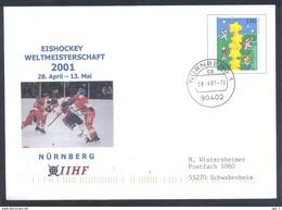 Germany 2001 Postal Stationery Cover: Ice Hockey Eishockey Hockey Sur Glace IIHF World Cup; Weltmeisterschaft Nürnberg - Hockey (Ice)