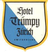 ,ETIQUETA DE HOTEL  -   HOTEL TRUMPY  -ZÚRICH -SUIZA - Hotel Labels