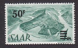 Saar, Scott #187, Mint Hinged, Saar River Surcharged, Issued 1947 - 1947-56 Protectorate
