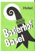 ,ETIQUETA DE HOTEL  -   HOTEL BASLERHOF  -BASEL (BASILEA)  SUIZA - Hotel Labels