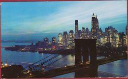 Night Fall In Lower Manhattan With Brooklyn Bridge, New York City 1967 (fold) - Manhattan
