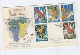 1958 Registered SAN MARINO FDC FRUIT CORN GRAPES AGRICULTURE Stamps Cover To USA Food - Fruits