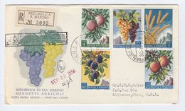 1958 Registered SAN MARINO FDC  FRUIT AGRICULTURE GRAPES Stamps Cover To USA Food - Fruits