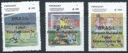Soccer Football Paraguay #4663/5 Ovpt World Cup USA 1994 MNH ** - Coupe Du Monde