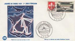 FRANCE - JOURNEE  DU TIMBRE 1959  1er JOUR D'EMISSION - LYON 21.3.59 - CHAQUE JOUR PAR TOUS TEMPS: LA POSTE/ 4 - Dag Van De Postzegel