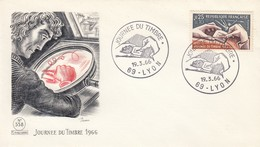 FRANCE - LETTRE JOURNEE DU TIMBRE 1966 - 69 LYON 19.3.66 - DECARIS  / 4 - Stamp's Day