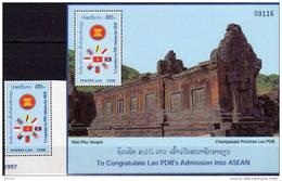 Phu Temple ASEAN-Kongreß 1998 Vietnam Emblem Laos 1631+Block 173 ** 5€ Mittig Viet Nam-Flagge Flag S/s Sheet Bf Lao - Laos