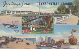 Florida Jacksonville Greetings From Showing Naval Air Station The Beaches Springfield Park 1943 Curteich - Jacksonville