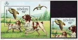 STOCKHOLMIA 1986 Brittany Spaniels Laos 951+Block 113 O 4€ Hunde Philatic Bloc WWF Hb S/s Nature Fauna Sheet Bf Lao - Laos