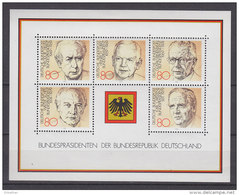BRD Block 18, Postfrisch **, Bundespräsidenten Der Bundesrepublik Deutschland 1982 - Bloques
