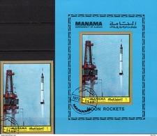 Start Mercury 3 Raketen 1972 Manama 1098+Block 221 O 17€ Imperf. Startrampe Astronauten Bloc Spaceship Sheet Bf VAE - Manama