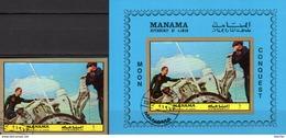 Landung Apollo 1972 Manama 973+Bl.192 O 17€ Imperf.Wasserung Der Astronauten Hoja Bloc Ms Spaceship Sheet Ss Bf VAE - Manama