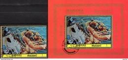 Landungkapsel 1972 Manama 969+Bl.191 O 17€ Perforiert Wasserung Apollo 8 Astronauten Bloc Ms Spaceship Sheet Bf VAE - Manama