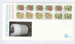1980 SURINAME FDC Booklet Pane FRUIT Stamps Cover Surinam - Surinam