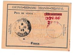 Coupon Franco-colonial Type FC 4 9d Avec Triple Surcharge De Lyon Préfecture 1941 - IRC CRI IAS - Entiers Postaux