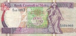 Banconota  Bank Centrali Ta Malta - ZEWG LIRI  2  - Anno 1967 - Malte