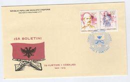 1991 ALBANIA FDC BOLETINI Kosovo Guerilla Leader Stamps Cover - Albania