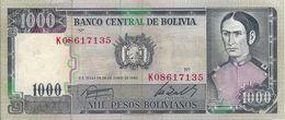 Banconota    BANCO  CENTRAL  DE  BOLIVIA   Da  1000  Pesos Bolivianos  -  Anno 1982. - Bolivia