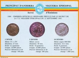 Andorra Viguerie Andorre**LUXE 1984 Carte Postale 2 Monnaie - Timbres