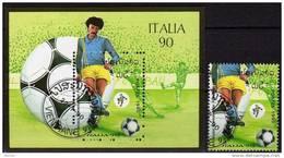Fußball-WM Italia 1990 Stürmer Stadion Laos 1181+Block 130 O 4€ Spiel Fogli Championat Ss Bloc Soccer Sheet Bf Lao - Laos