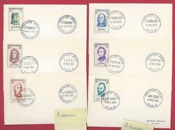 Y&T 1082/1087 - 1956 1er Jour Pétrarque , Lulli , Rousseau , Franklin , Chopin , Van Gogh Sur Carte FDC - 1950-1959