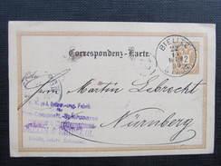 GANZSACHE Bielitz - Nürnberg 1890 Dellin+ Smieskol   //  D*28265X - 1850-1918 Imperium