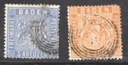 Baden MiNr 10b, 11a - Baden