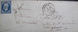 LOT R1606/4 - NAPOLEON III N°14A - LETTRE (LSC) CAHORS (Lot) PC 580 4 MARS 1856 > VERDELAIS (Gironde) - 1853-1860 Napoléon III