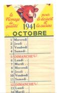 """Page D'un Calendrier Publicitaire """" La Vache Qui Rit """" Octobre 1941 - Fromage - Calendriers"""