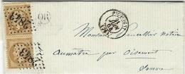 1864- Lettre De PICQUIGNY ( Somme ) ) Cad T15 Affr. Paire N°21 Oblit. G C 2843 - Storia Postale