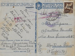 FRANCHIGIA MILITARE CARTOLINA (INT. 27A-3) - DA PM 38 (ATENE - GRECIA)) (p.1) 02.09.1943 PER MARTINA FRANCA - 1900-44 Vittorio Emanuele III