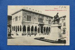 Cartolina Udine - Palazzo Municipale E Monumento A V.E. - 1904 - Udine