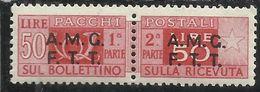 TRIESTE A 1947 -1948 AMG-FTT OVERPRINTED PACCHI POSTALI PARCEL POST LIRE 50 MNH - 7. Trieste