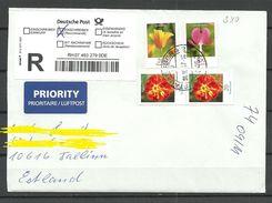DEUTSCHLAND 2017 R-Brief Nach Estland Blumen Flowers - Brieven En Documenten
