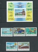 Mauritania 1977 Aviation History Set Of 5 & Miniature Sheet Imperforate MNH - Mauritania (1960-...)