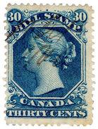 (I.B) Canada Revenue : Bill Stamp 30c (1865) - Canada