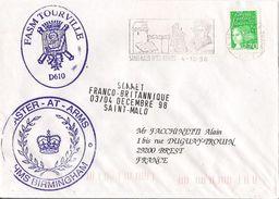 MARCOPHILIE NAVALE FASM TOURVILLE SOMMET FRANCO BRITANNIQUE DECEMBRE 1998 SAINT MALO - Marcophilie (Lettres)