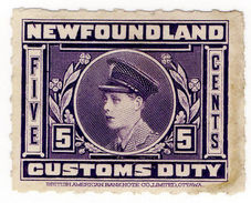 (I.B) Canada Revenue : Newfoundland Customs Duty 5c (1925) - Canada