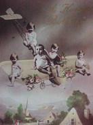 Cpa  BEBES MULTIPLES EN AEROPLANE Photo Montage Surrealiste 1915  MULTI BABIES IN AIRPLANE - Bebes