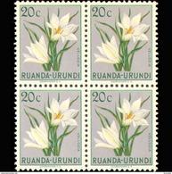 Ruanda 0179**x4 - 20c Gris  Fleurs  MNH - Ruanda-Urundi