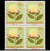 Ruanda 0178**x4 - 15c Vert  Fleurs  MNH - Ruanda-Urundi