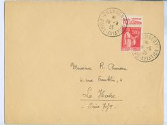 1935 France Chambery Foire Aviation Postmarked Cover To Le Havre, Moet & Chandon Advert Tab - Airmail