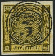 BADEN 2a BrfStk, 1851, 3 Kr. Schwarz Auf Orangegelb Mit Nummernstempel 100 (NEUSTADT), Allseits Voll-überrandig, Kabinet - Baden