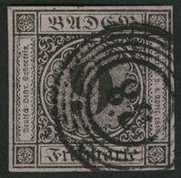 BADEN 4a O, 1851, 9 Kr. Schwarz Auf Altrosa, Nummernstempel 38, Allseits Breitrandig, Pracht, Gepr. Brettl - Baden