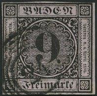 BADEN 4a O, 1851, 9 Kr. Schwarz Auf Altrosa, Nummernstempel 24, An Zwei Seiten Teils Minimal Berührt Sonst Vollrandig Pr - Baden