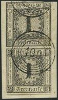 BADEN 5 Paar BrfStk, 1853, 1 Kr. Schwarz Im Senkrechten Paar, Nummernstempel 100 (NEUSTADT), Obere Marke Leicht Berührt  - Baden