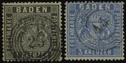 BADEN 9,10b O, 1860/1, 1 Kr. Schwarz Und 3 Kr. Mittelultramarin, 2 Gut Gezähnte Prachtwerte - Baden