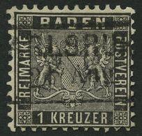 BADEN 13a O, 1862, 1 Kr. Schwarz, Kaum Sichtbare Bugspur Sonst Pracht, Mi. 120.- - Baden